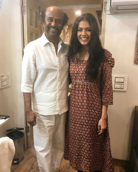 Malavika Mohanan with Rajinikanth at Petta sets